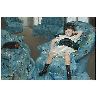 Print on canvas - Girl in Blue Armchair - Mary Cassatt - Painting on Canvas, Wall Decoration