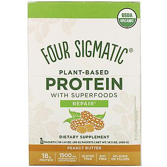 Four Sigmatic, Plant-Based Protein with Superfoods, Peanut Butter, 10 Packets, 1