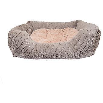 40 Winks Square Bed - Gris & Rose - 71x 58cm