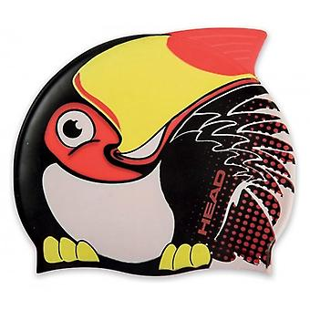 Head Meteor Character Silicone Swimming Cap - Black Toucan