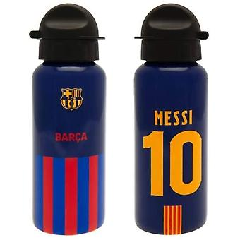 Messi Barcelona FC Striped Aluminium Metal Water Drinks Bottle 400ml Official