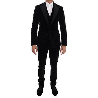 Dolce & Gabbana musta sametti ohut kukka kirjailtu puku KOS1130-1
