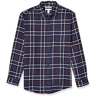 Essentials Men's Standard Regular-Fit Long-Sleeve Plaid Flannel Shirt, Navy/Burgundy, XX-Large