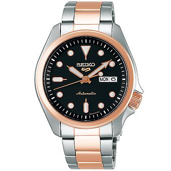 Seiko 5 Sports Automatic Black Dial Two Tone Steel Mens Watch SRPE58K1 RRP £290