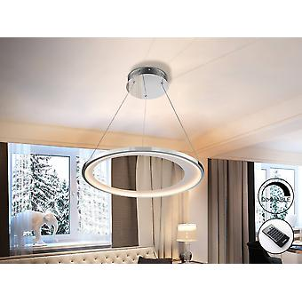 Integrated LED Dimmable Ceiling Pendant Round with Remote Control Chrome