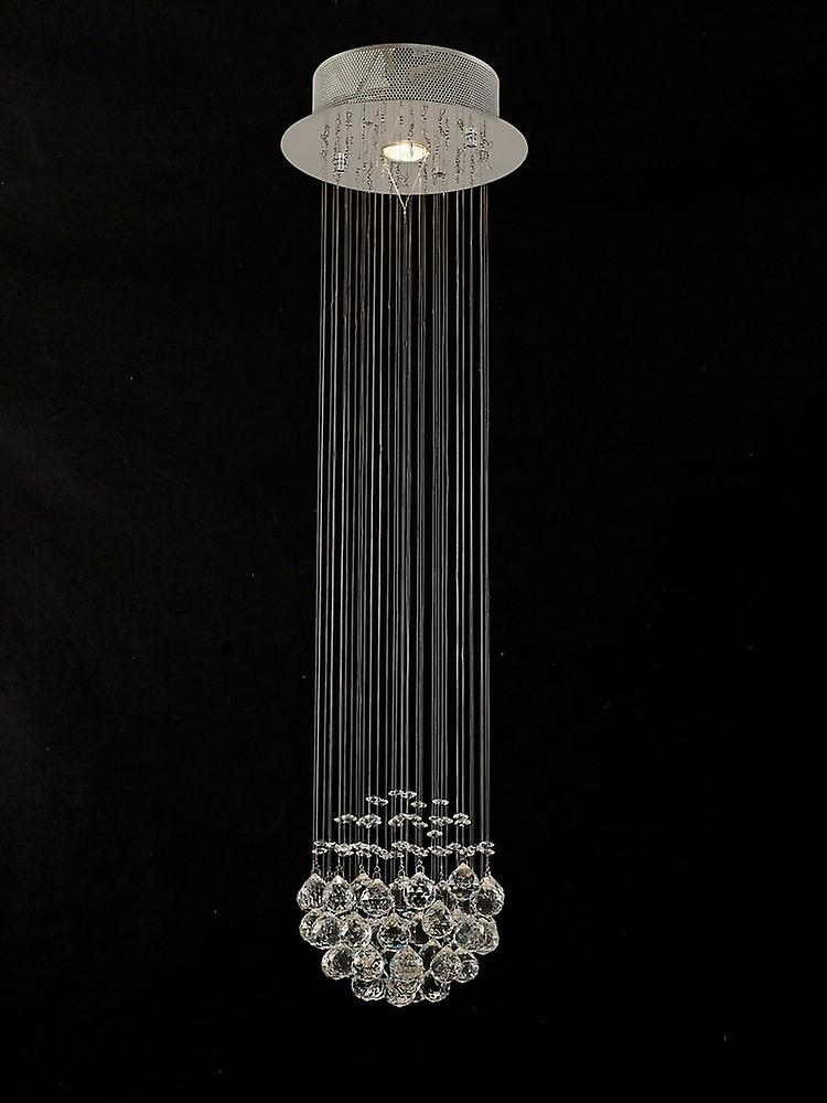 Ceiling Cluster Pendant Cluster 1 Light Polished Chrome, Crystal