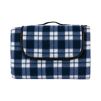 Nicola Spring Picnic Blanket - Camping Hiking Beach Mat - Water Resistant Backing - 130 x 168cm - Blue Gingham