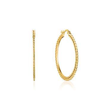 Ania Haie Ear We Go Shiny Gold Flat Beaded Hoop Earrings E023-21G