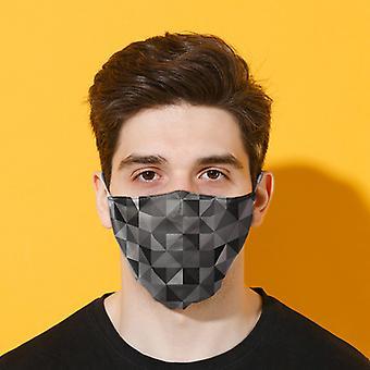 Geometrische zwarte en grijze driehoeken printen herbruikbare gezichtsbedekking - Groot X 1-pakket