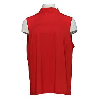 Joan Rivers Classics Collectie Women's Plus Top Mock Neck Red A309462