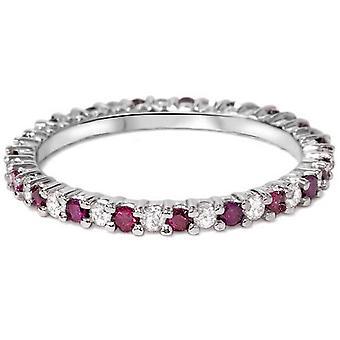1/2Ct Ruby & Diamond Eternity Wedding Ring 14k White Gold Womens Band