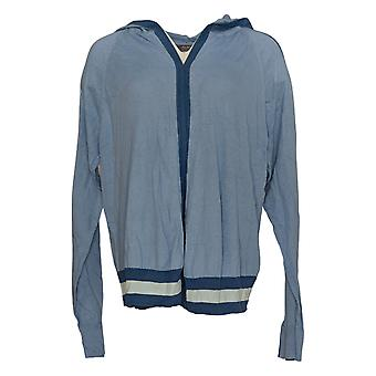 Lisa Rinna Collection Women's Hooded Cardigan Blue Sweater A305077