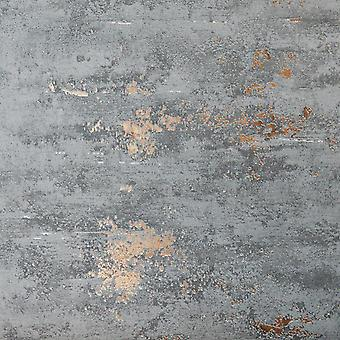 Industrial Stone Concrete Brick Wallpaper Paste The Wall Grey Metallic Copper
