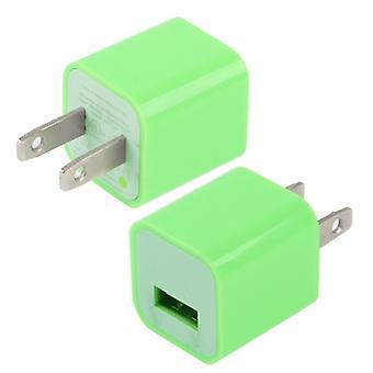 Us Plug USB Charger, iPad, iPhone, Galaxy, Huawei, Xiaomi, LG, HTC ja muut älypuhelimet, ladattavat laitteet (vihreä)