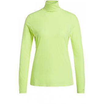 Oui Neon Jersey Polo Neck Top