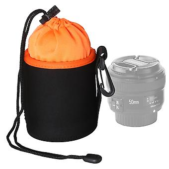 SLR Camera Lens Bag Micro Single Lens Bag Lens Binnenste bile bag waterdichte beschermhoes plus fluwelen verdikking, diameter: 8,5 cm, hoogte: 10cm (oranje)