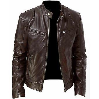 Pu Leather Jacket Men Winter Autumn Fashion Street Style Stand Collar