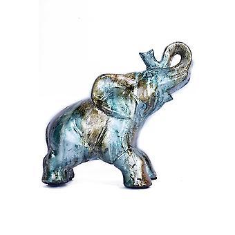 "10"" X 6"" X 10.5"" Turquoise Copper And Bronze Ceramic Elephhant"