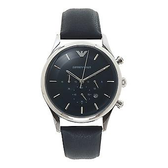 Armani Ar11018 Silver & Navy Blue Leather Chronograph Men's Watch