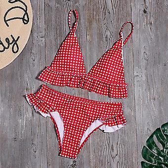 منقوشة طباعة بيكيني مجموعة ملابس السباحة الصلبة مثير كشكش ملابس السباحة ملابس السباحة