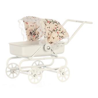 Poppenhuis Witte Metalen Kinderwagen Bloemen Hood Miniatuur 1:12 Baby Kinderkamer Accessoire