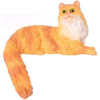 Dolls House Semi Long Hair Orange Cat Sitting Tail Opknoping Miniatuur 1:12 Huisdier