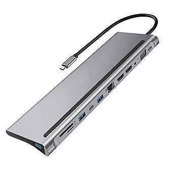 Type-c Hub 4k telakointiasema Dual Hdmi Rj45 Gigabit Lan Pd, Kannettavan tietokoneen telakointi