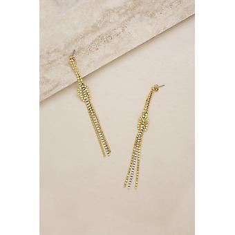 Lineaarinen crystal knot duster 18k kullatut korvakorut