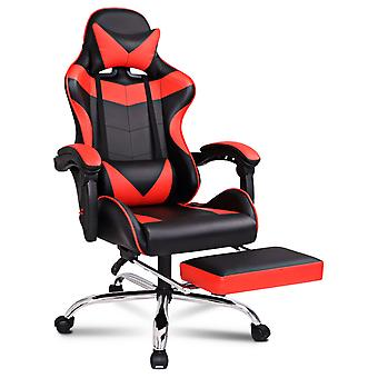 ELFORDSON Gaming Chair Office Executive Racing Footrest Seat PU Leather Red