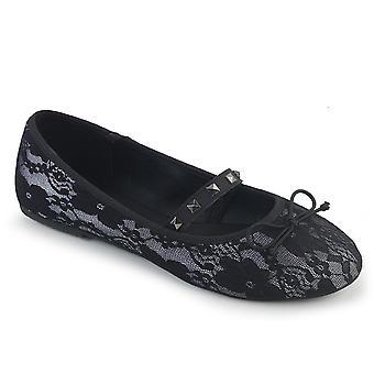 Demonia Women's Shoes DRAC-07 Blanco Satin-Black Lace Superposición
