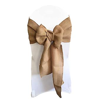 10pcs Hessian Jute Burlap Chair Tie Bow Rustic For Wedding Festival Party