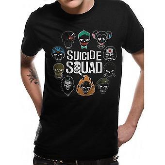 Suicide Squad Unisex Adulto Logo y Camiseta de Iconos