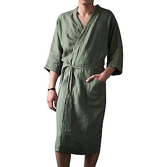 Homens Bathrobe Flannel Hooded Thick Casual Winter Autumn Long Kimono Robe
