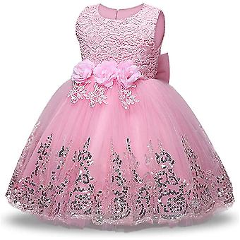 Baby Meisje Formele Doop Prinses Jurk 575-roze