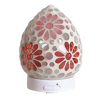 Aroma Mosaic LED Ultrasonic Electric Oil Diffuser Aromatherapy Pink Floral