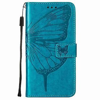 Butterfly mønster lærveske til Samsung Galaxy A11 / M11 - blå