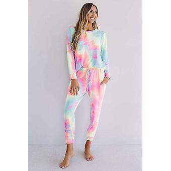 Snuggle Down Pink Tie Dye Long Sleeve Pant Lounge Set