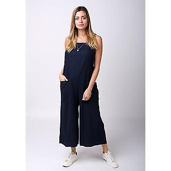 Saffy ladies lightweight loose fit linen dungarees - navy
