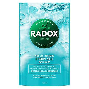 4x 900g Radox Músculo Restaurar Epsom Baño SaltBlended con Eucalyptus & Lemongrass