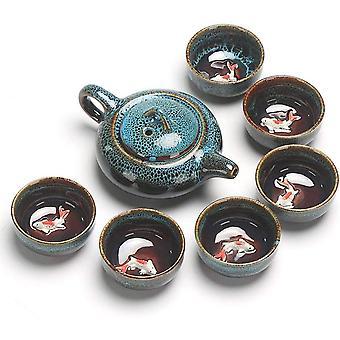 Porslin te set handgjord gravyr Celadon Keramik