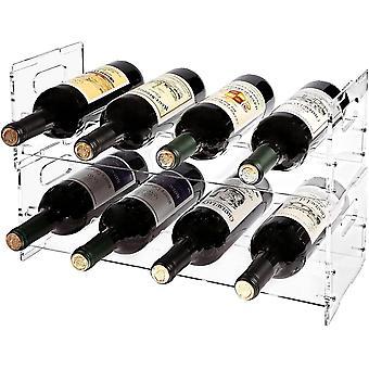HanFei Weinregal für 8 Flaschen, modern, transparent, Acryl, freistehend, stapelbar, 2-teiliges Set