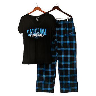 NFL Women's Pajama Set Panthers Flannel Pants & T-Shirt Black A370730