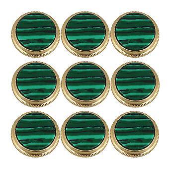 9Pieces Petits Accessoires Trompette Boutons Greenstone Bouton Or Vert