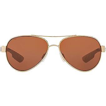Costa Del Mar Womens Loreto Polarized Aviator Sunglasses - Rose Gold/Copper - 56 mm