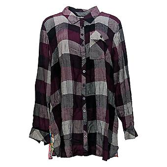 Tolani Collection Women's Top Regular Plaid Tunic w/Print Back Red A383438
