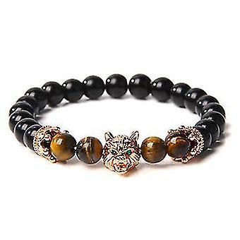 Wolf Head Crystal Stress Relief Anti Anxiety Energy Stone Beaded Bracelet (Amarelo)