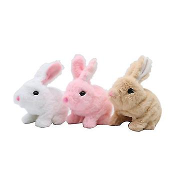 Electric plush simulation toy bunny that can jump(White)