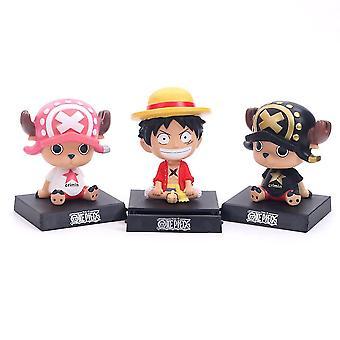 3pcs One Piece Luffy Chopper Straw Hat Car Decoration Shaking Head Figure Model