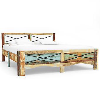 إطار سرير vidaXL المستصلحة الخشب الصلب 140x200 سم