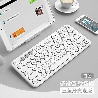 Qwert Wireless Silent Mini Gaming Keyboard Mouse Combo Round Button Magic Keyboard (bianco)